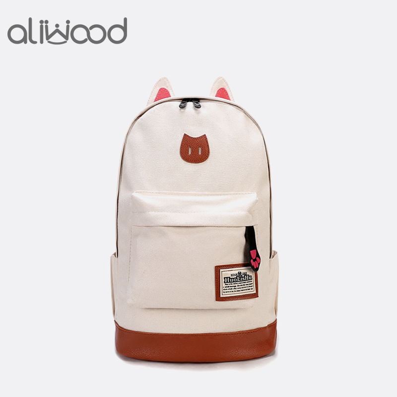 2018 Fashion Women Backpacks for Teenage Girls School Bags Female Cartoon Cat Canvas Laptop Backpack Mochila Feminina Rucksack holika holika egg soap special set 4 type 50g x 4 pcs moisturizing whitening soap deep cleansing dead skin korea cosmetic