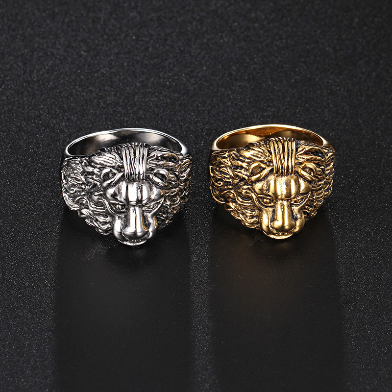 Domineering lion head ring king of the style of steel casting stone lion ring