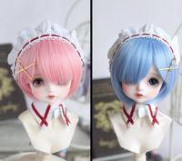 New Hot 1/4 7 8BJD SD MSD Hair Sweet Pink/ Water Blue Color Medium Straight Wig