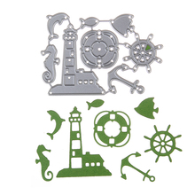 Lighthouse crafts reviews online shopping lighthouse crafts embossing steel dolphin lighthouse cutting dies stencils diy scrapbooking card album photo painting template metal craft pronofoot35fo Images