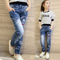 Baby Girls Jeans Cartoon Pattern Kids Jeans Winter Autumn Children Pants Casual Girl Denim Trousers Fashion