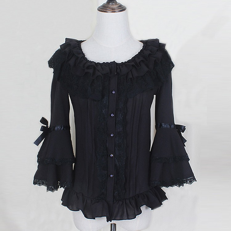 Spring summer women white short shirts Ladies lace Chiffon Gothic shirts Ruffled cute casual blouse lolita costume