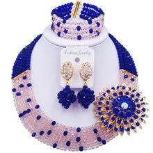 Нежное очаровательное бисерное ювелирное изделие Королевский синий персик для женщин нигерийские Свадебные африканские бусы комплект ювелирных изделий ABC1022
