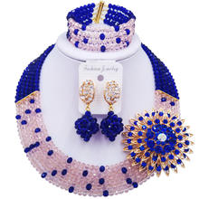 Delicate charming beaded jewelry royal blue peach women nigerian wedding african beads jewelry set ABC1022(China)