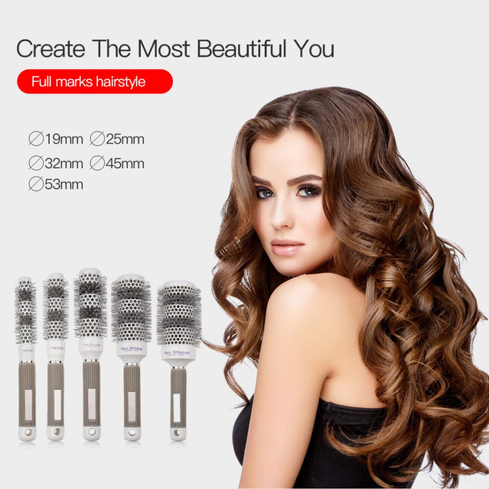 5pcs Round Rolling Hair Brush Set Ceramic Hair Comb High Temperature Discoloration Salon Brushes Styling Accessory Tools S46 li yugang cross gender full set hair accessory for tang empress spring gala stage performance hair tiaras hair accessory set