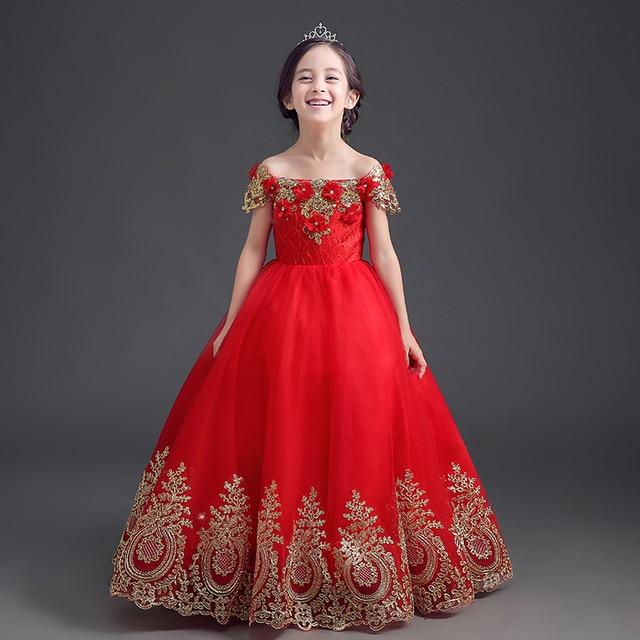7391dd03b Shoulderless لطيف الأميرة فساتين الأحمر بنات فساتين صيف 2017 جديد الكاحل  طول الزفاف التطريز ملابس الأطفال
