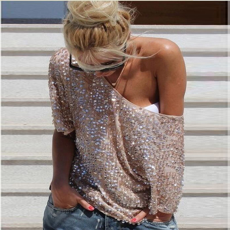 New 2019 Fashion Women Sexy Loose Off Shoulder Sequin Glitter Blouses Summer Casual Shirts Vintage Streetwear Party Tops