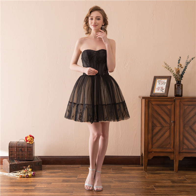 Cocktail     dresses   black tulle strapless mini skirt sexy illusion sleeveless   cocktail     dress   party appliques ball gown vestidos