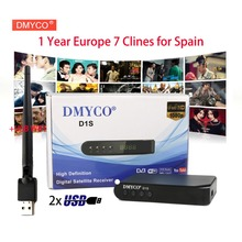 D1S Satellite TV Receiver DVB-S2 1080P HD decoder+USB WIFI Receptor with 1 Year 7 Clines Europe CCCAM support 3G powervu youtube