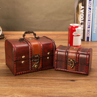 2PCS/SET Treasure box European antique wooden jewelry storage box jewelry box with lock storage room props ZP01121036