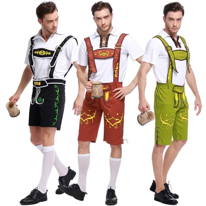 Traditional German Oktoberfest Waiter Cosplay Costume Adult Men Bavarian Beer Festival Party Show Suspender Pant Clothes 3 Color