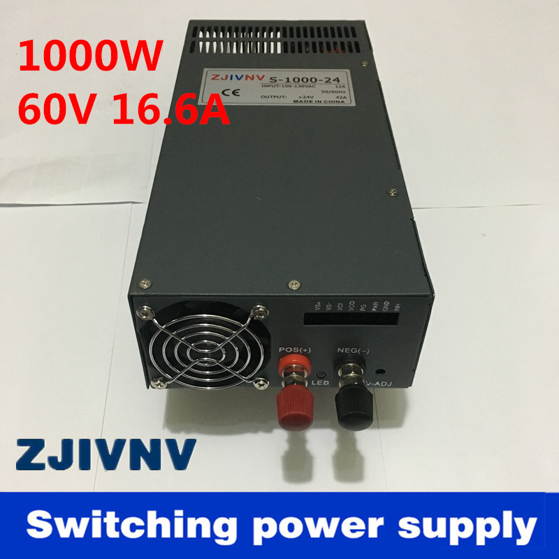 New Switching power supply 1000W 60V 16a AC to DC input 110v or 220v low price 1000w ac to dc power supply
