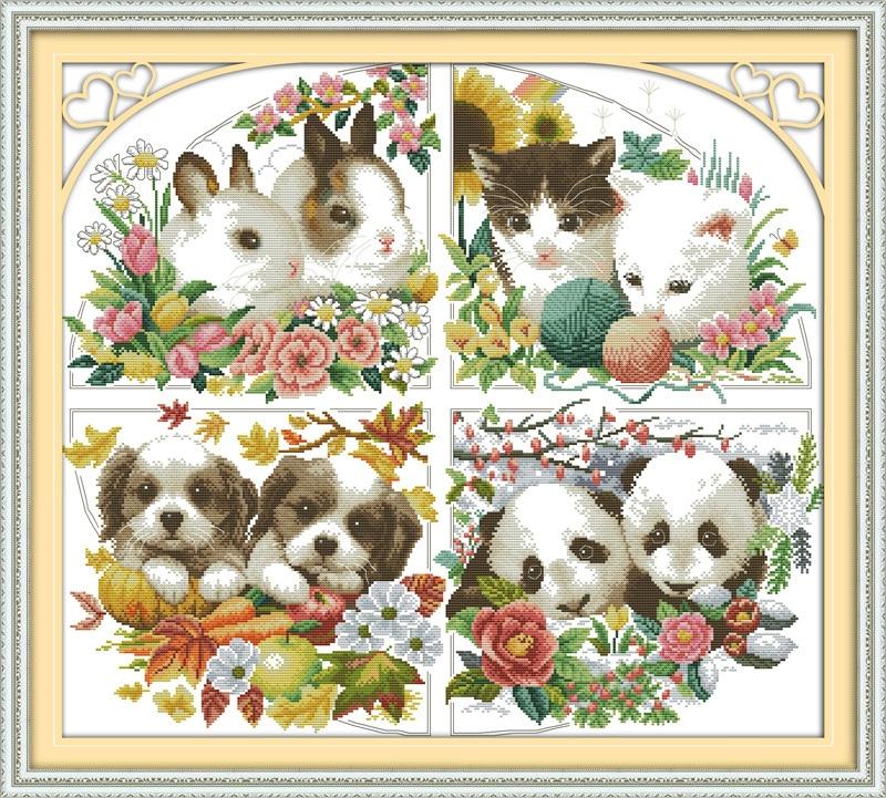 Four seasons animal Printed on Canvas DMC Counted Chinese Cross Stitch Kits printed Cross stitch set