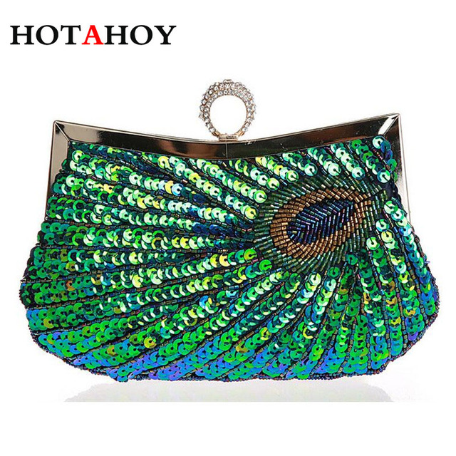 Vintage Women Ring Clutch Bags Peacock Pattern Sequins Beaded Chain mini  handbag Bridal Purse luxury Evening Party Wedding Gifts 8730f6e5cf82