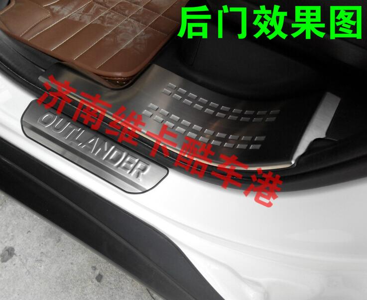ФОТО chrome stainless steel scuff plate door sill covers for Mitsubishi Outlander 2013-2014 2015 2016 car styling auto accessories
