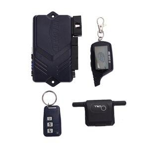 Image 3 - Russische Version Zwei wege Auto Alarmanlage mit Motor Starten LCD Fernbedienung Schlüssel Fob Fall Für B9
