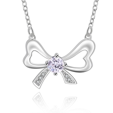 2016 new top quality Silver Plated & Stamped 925 lovely butterfly with bring stone women necklace pendant jewelry trendy
