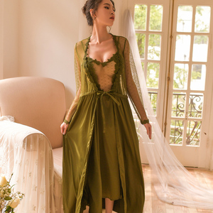 Image 3 - sexy mousse women night gowns sleep wear black robe sexy lace mesh stain white pink green new