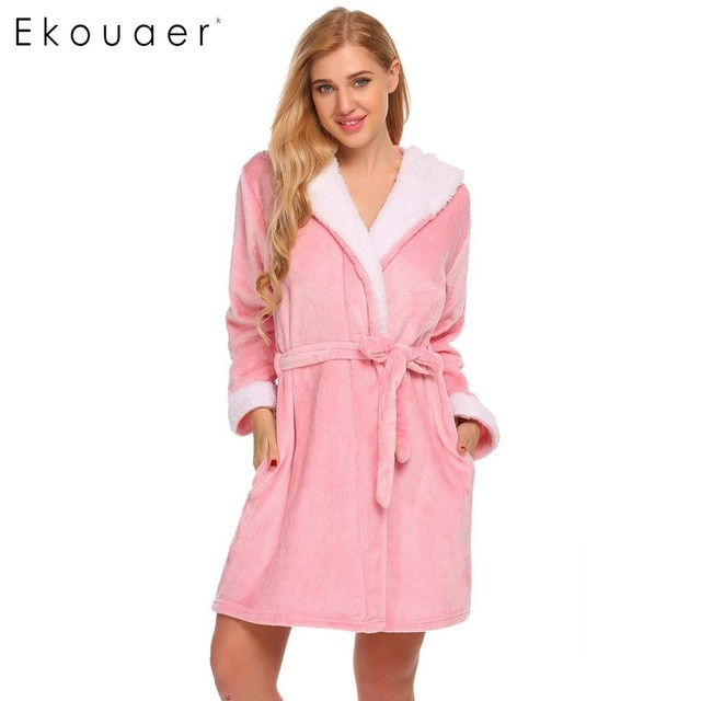 7260682e51 Ekouaer Womens Fleece Robe Sleepwear Long Sleeve Animal Hooded Bathrobe  Plush Short Winter Bath Robe Peignoir Femme Bain Robe