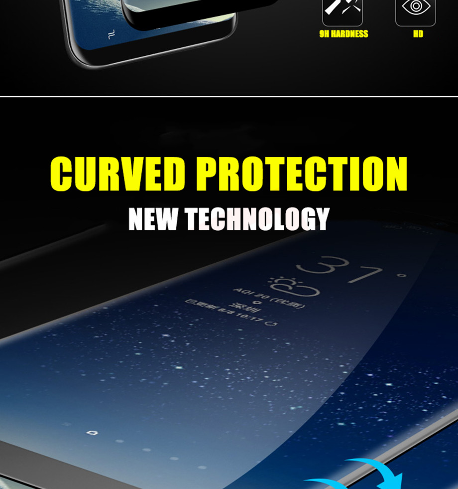 2-PC-For Samsung Galaxy S8 Tempered Glass For Samsung Note 8 S9 Screen Protector Film