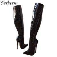 Sorbern/Сапоги до бедра на тонком каблуке средней высоты; женские пикантные туфли на высоком каблуке 7 дюймов; женские сапоги; Размеры 14