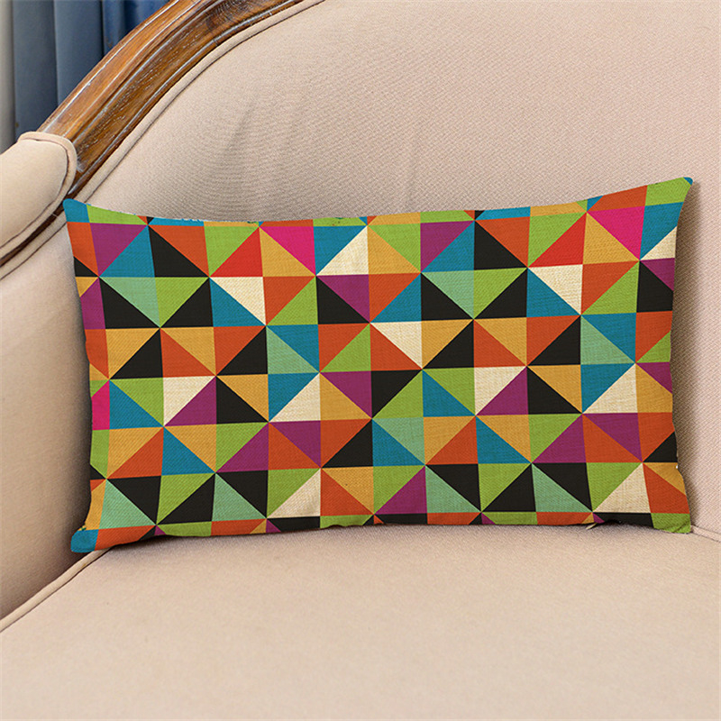30x50cm decorative lumbar pillow cover case geometric cotton linen waist cushion cover sofa home decor gift - Decorative Lumbar Pillows
