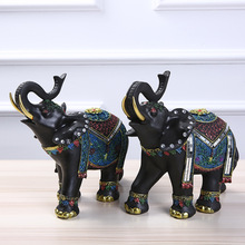 MRZOOT Creative European Ornaments Business Gifts Office Crafts Black Elephant Home Decoration Resin