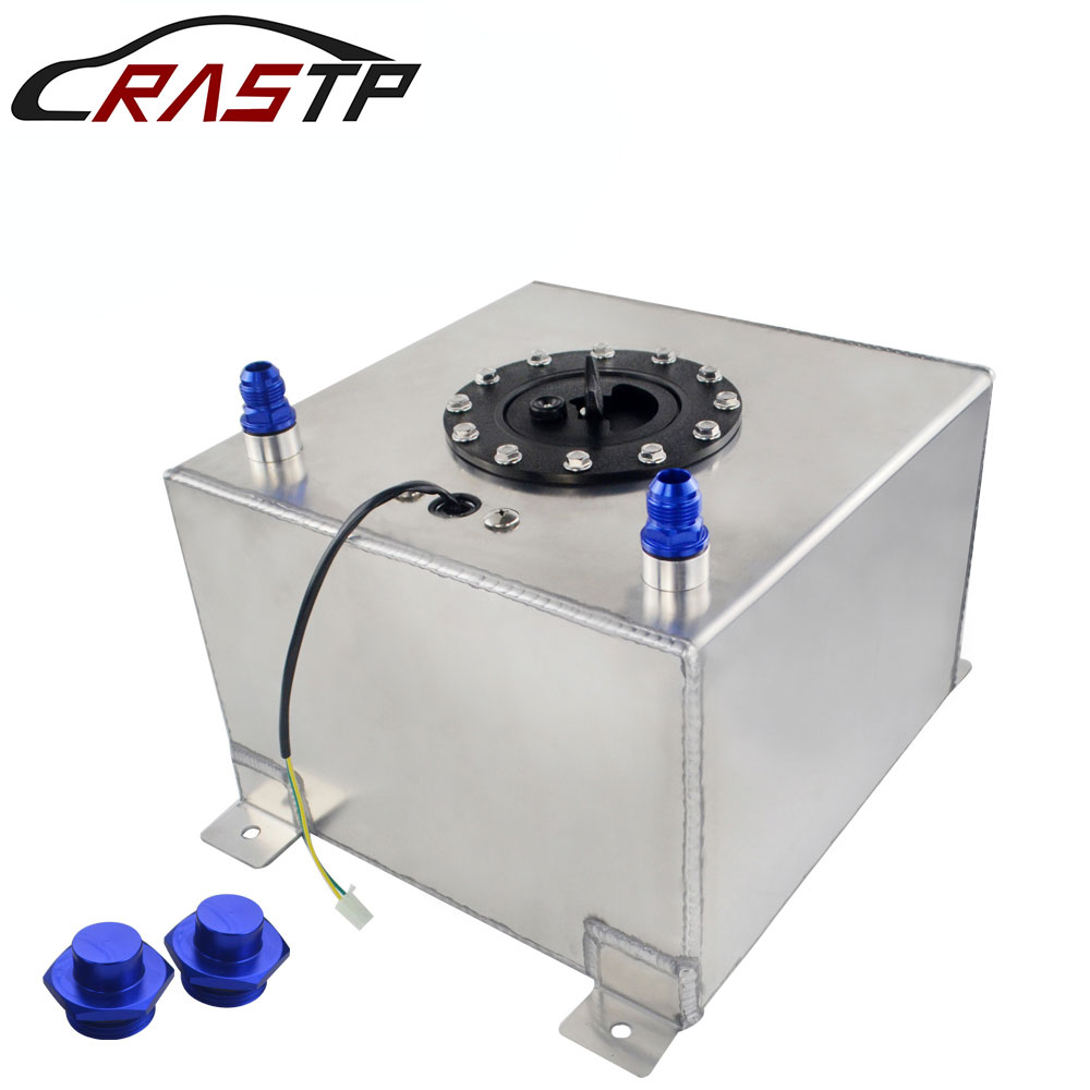 RASTP-Silver 20L Aluminum Fuel Surge Tank Oil Catch Can with Sensor Cell Cap/Foam Inside RS-OCC024