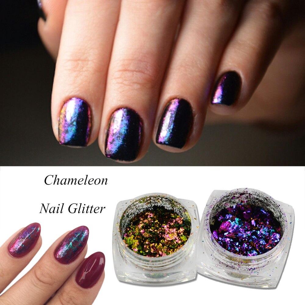 0,1g Laser Chamäleon Glitter Staub 3d Flakes Pailletten Spiegel Magie Pulver Pigment Uv Gel Maniküre Nail Art Decor Trbs02/05