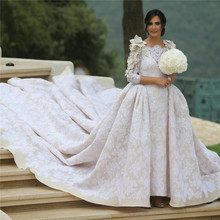Luxury Ball Gown 2016 New One Shoulder Royal Train White Flower Lace Wedding Dress Bridal Gowns vestido de noiva robe de mariage