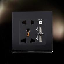 Black USB Wall Socket AC 110-250V US UK EU AU Wall Socket 2 Port USB Outlet Power Charger for iphone Samsung HTC
