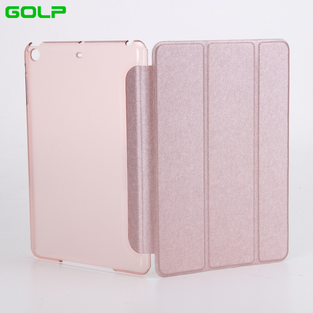GOLP Case for iPad Mini 1 2 3 Perfect Fit Silk Pattern PU Leather Smart Case Translucent Hard PC Back Cover for iPad Mini 1 2 3