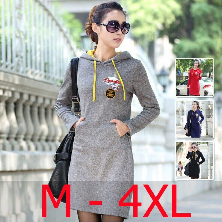Nouveau 2019 printemps automne femmes grande taille 4XL 3XL XXL XL à capuche Slim chaud robes dames épais velours robe d'hiver