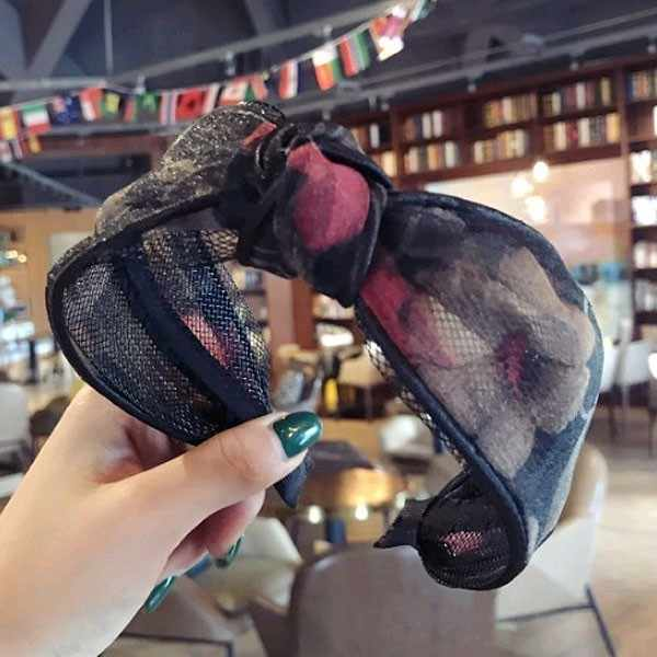 女性のヘアバンドフローラレースメッシュ幅ヘアジュエリーアクセサリー韓国スタイルクロスノットビッグヘッドバンドファムヘッドビジュー