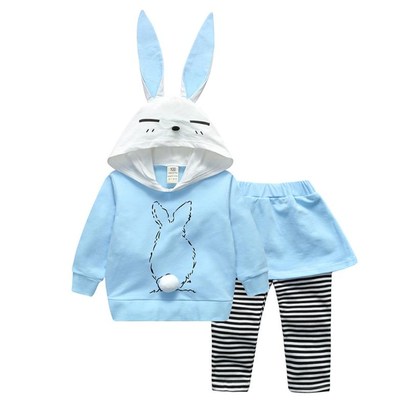 2pcs Baby Home Clothes Set Cute Rabbit Pullover Hooded Long Sleeve Tops Stripe Culottes Suit Children Clothing