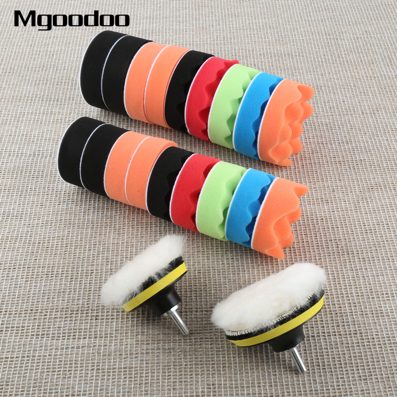 "12pcs 4/""inch Buffing Waxing Pads With M14 Drill For Car Polishing Cleaning"