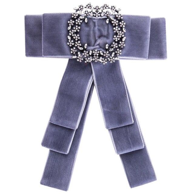 Роскошные лук броши для Для женщин платье-рубашка ткань бархат бантом галстук корсаж Broche Роскошный горный хрусталь брошь Пен Свадебные украшения