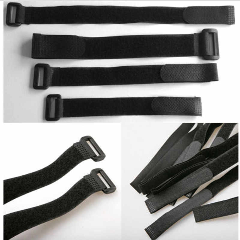 5pcs 30CM Black Hook and Loop Strap Fastener Paste Style Cable Ties Straps