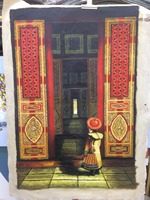Hand Painted Figure Oil Canvas Painting Chinese Ancient Palace Emperor Canvas Painting Wall Art Picture Painting for Living Room