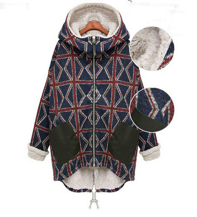 ФОТО Europe 2016 Brand New Cotton Padded Argyle Long Women Winter Hooded Coat Zipper  Thick Jacket