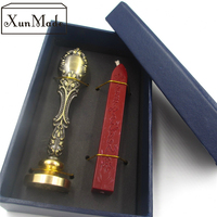 D Custom Wax Seal Stamp With Sealing Wax Sticks Gift Box Retro Vintage Wooden Metal Handle