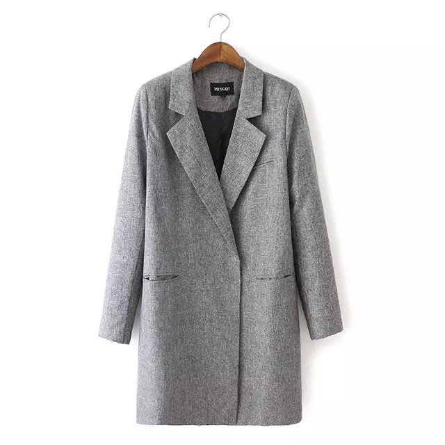 Long Style Elegant Gray Suit Jacket 2017 New Fashion Women Winter Coats Las Casual Office Slim Coat For Woman Clothing Uk 8 In Basic Jackets From S