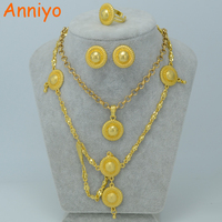 Small Size Habesha Set Jewelry For Women Girl Ethiopian 24k Gold Plated Hair Chain Earrings Ring