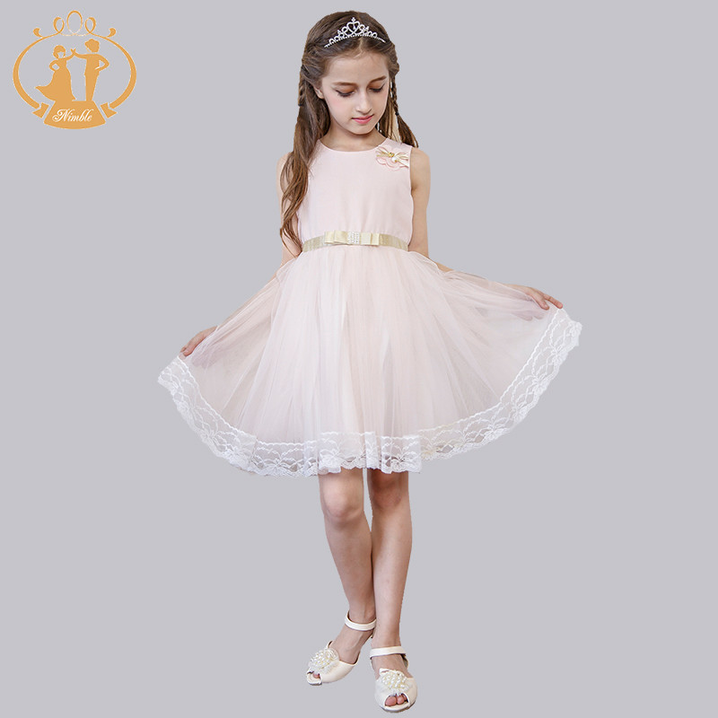 Nimble New Princess girls clothes Casual Fashion Lace Golden Bow And sashes kids clothes vestidos moana roupas infantis menina nimble knee length sleeveless baby girls clothes cute flower o neck ball gow elegant princess party clothes vestidos moana troll