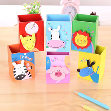 1 pcs New cute cartoon animal wooden square pen holder Child learning stationery storage pen holder Desk Accessories