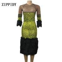 Full Rhinestones Feather Dress Luxury Green Dress Birthday Celebrate Costume Singer Party Performance Bling Shining Dresses
