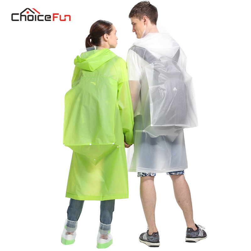 CHOICE FUN Fashion Transparent Clear Men Women Couple Adult Poncho Foldable Yellow Waterproof Packable EVA Rain Coat Raincoat