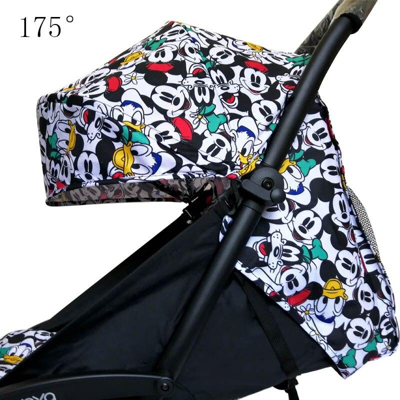Capucha de cochecito y colchón para 175 Yoya trono para bebé Oxford paño trasero con bolsillos de malla Yoya accesorios para cochecito cojín para Yoyo