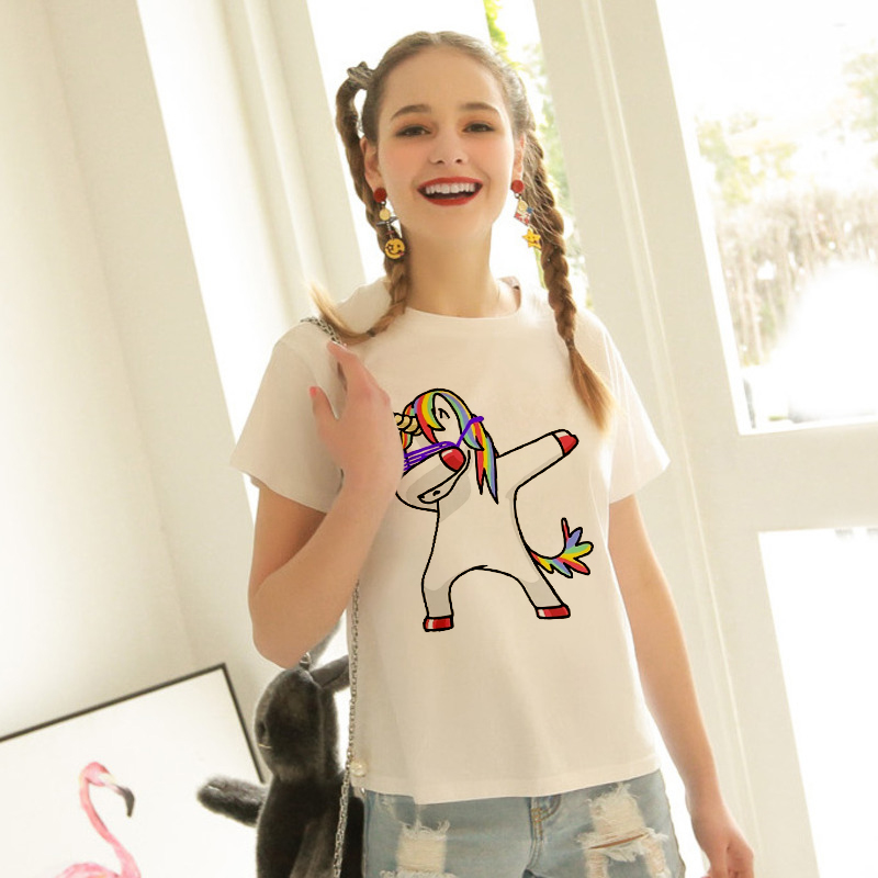 New dab Unicorn Print T Shirt Women Short Sleeve O-Neck Tops Casual Female Ladies Tee Shirts Funny Sign Dabbing Hwc016