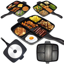 New 5-in-1 Multifunction Breakfast Fryer Pan Flat Non-stick Divided Frying Grill Pan Eggs Steak Pots and Pans for Cooker